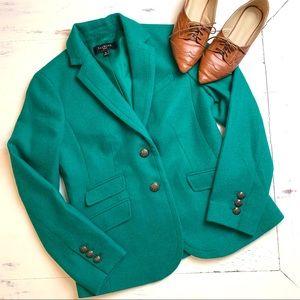 NWOT Talbots Shetland Wool Green Blazer Sz 4P